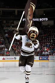 11.20.15 - Coco getting the crowd warmed-up before the game. Photo courtesy  of JustSports Photography   Hershey bears, Hockey logos, Bear