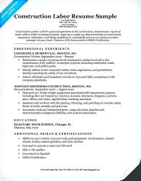 Resume For Construction Worker Construction Laborer Resume Construction Laborer Resume