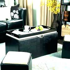 black ottoman with tray storage ottoman coffee table with trays black leather coffee table black leather