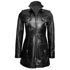 las black leather steampunk style trench coat t14 blk