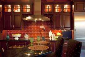 beautiful red brick effect kitchen wall tiles brown lacquered wood kitchen cabinet black seamless granite countertops