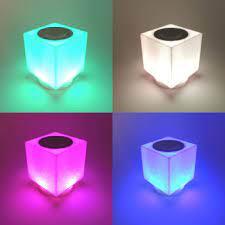 Küp Şarjlı Bluetooth Hoparlör Müzik Çalar RGB Led Lamba USB TF Aux
