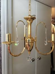 3 arms gold plated chandelier with swarovski icicles and sphere