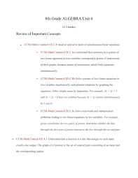 8th grade algebra unit 6