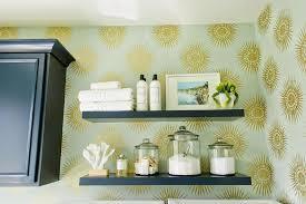navy floating laundry room shelves