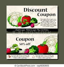 Vector Coupon Template With Vegetables Set Of Farmer Banners With Sketches Illustration For Voucher Label Card