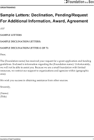Sample Letters Declination Pending Request For Additional