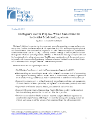 Michigans Waiver Proposal Would Undermine Its Successful