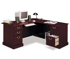 corner office desk ideas. L Shape Bush Solid Cherry Corner Computer Desk Design With Black Table Lamp  And Storage File Cabinet Corner Office Desk Ideas