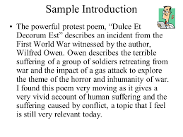essay question answers to questions in this section should refer  sample introduction the powerful protest poem dulce et decorum est describes an incident