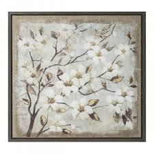 frame art print tree with white flowers