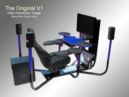 We've already seen all sorts of ridiculous computer desks here at  Geekologie, and here comes another -- the V1 (V for Vision, not Vagina).