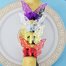 Creative <b>50PCS</b>/ <b>lot</b> Butterfly Style Laser Cut Paper <b>Napkin Ring</b> ...