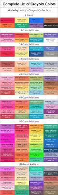 Complete List Of Current Crayola Crayon Colors Jennys