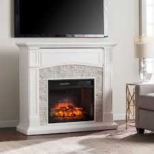 stratford white faux stone infrared electric a fireplace