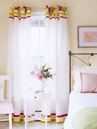 no sew curtains three shades of velvet ribbon give plain white tab top