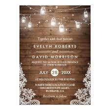 Rustic Wood Mason Jars String Lights Lace Wedding Card | Zazzle.com