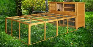 rabbit hutches with run and play area also lawn with garden decoration and outdoor design plus
