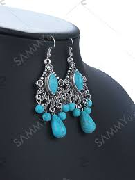 retro turquoise chandelier earrings turquoise green