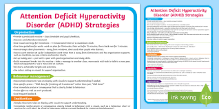 Adhd Support Strategies Display Poster Sen Attention