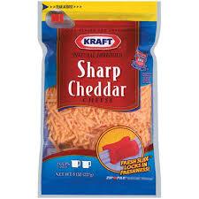 sharp cheddar cheese. kraft sharp shredded cheddar cheese 8 oz a