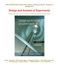 Design And Analysis Of Experiments Ebook Pdf Ebook Design And Analysis Of Experiments Ebook Pdf