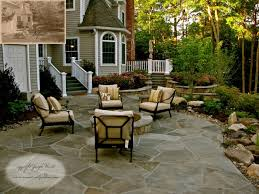 stone patio fire pit traditional landscape