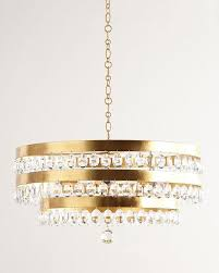perla round 3 tier gold crystals chandelier