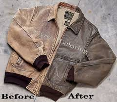 brown leather coat showing the before and after of the cleaning process