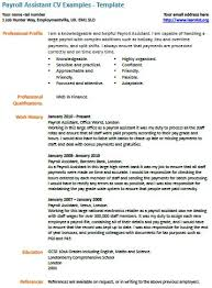 Cv London Payroll Assistant Cv Example Learnist Org