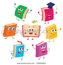 set of funny book characters mascots cartoon vector ilration isolated on white background