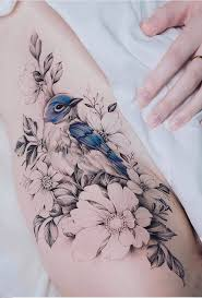 For Floral Tattoo All The Flowers Are Black White Except For One