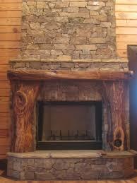 picture lightweight stacked fieldstone with black walnut mantel