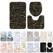 3pcs non slip floor mat soft bathroom rug lid toilet cover bath mat marble set