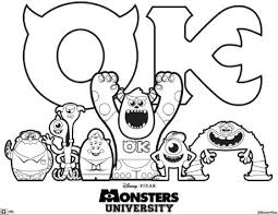 Small Picture Monsters University Colouring Page
