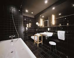 large modern bathroom. Black Floor Tile Design For Modern Bathroom Ideas With Super Large Mirror And White Sink L
