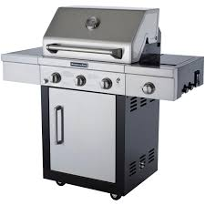 kitchenaid 25 inch propane gas grill on cart with side burner bbq guys