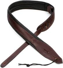 levy s mss80 2 two tone boutique series leather guitar strap dark brown on black