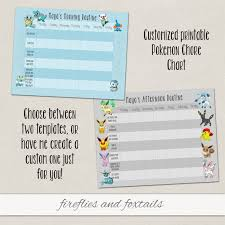 Customized Pokemon Behavior Or Chore Chart Visual Schedule