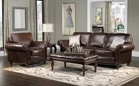 Leather Couch Decorating Living Room Grey Walls Brown Furniture Home Decoration
