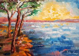 painting of trees by the lake at sunset
