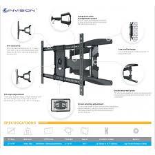 invision tv wall mount bracket double arm tilt swivel 37