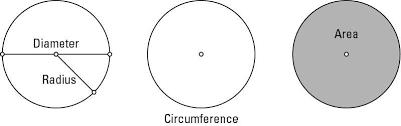Circle Formula Chart Radius Diameter Circumference And Area Of Circles Dummies