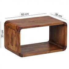 2er Set Satztisch Boha Massiv Holz Sheesham Wohnzimmer Tisch Landhaus Stil Cubes Beistelltisch Würfelregal Natur