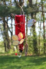 stain glass bird feeders stained hummingbird feeder from red recycled bottle with orange flower patterns