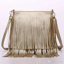 women fashion tassel fringe handbags trend pu leather shoulder bag las black leather cross bags bolsa feminina whole handbags handbags from