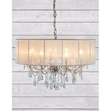 cambridge chrome 8 branch chandelier with white shade