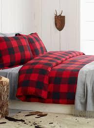 buffalo check flannel duvet cover set