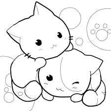 Kitty Cat Coloring Pages Lovely Chibi Printable Anime Girl For Of