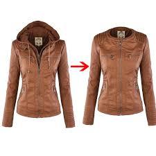 2018 fashion winter faux leather jacket women s
